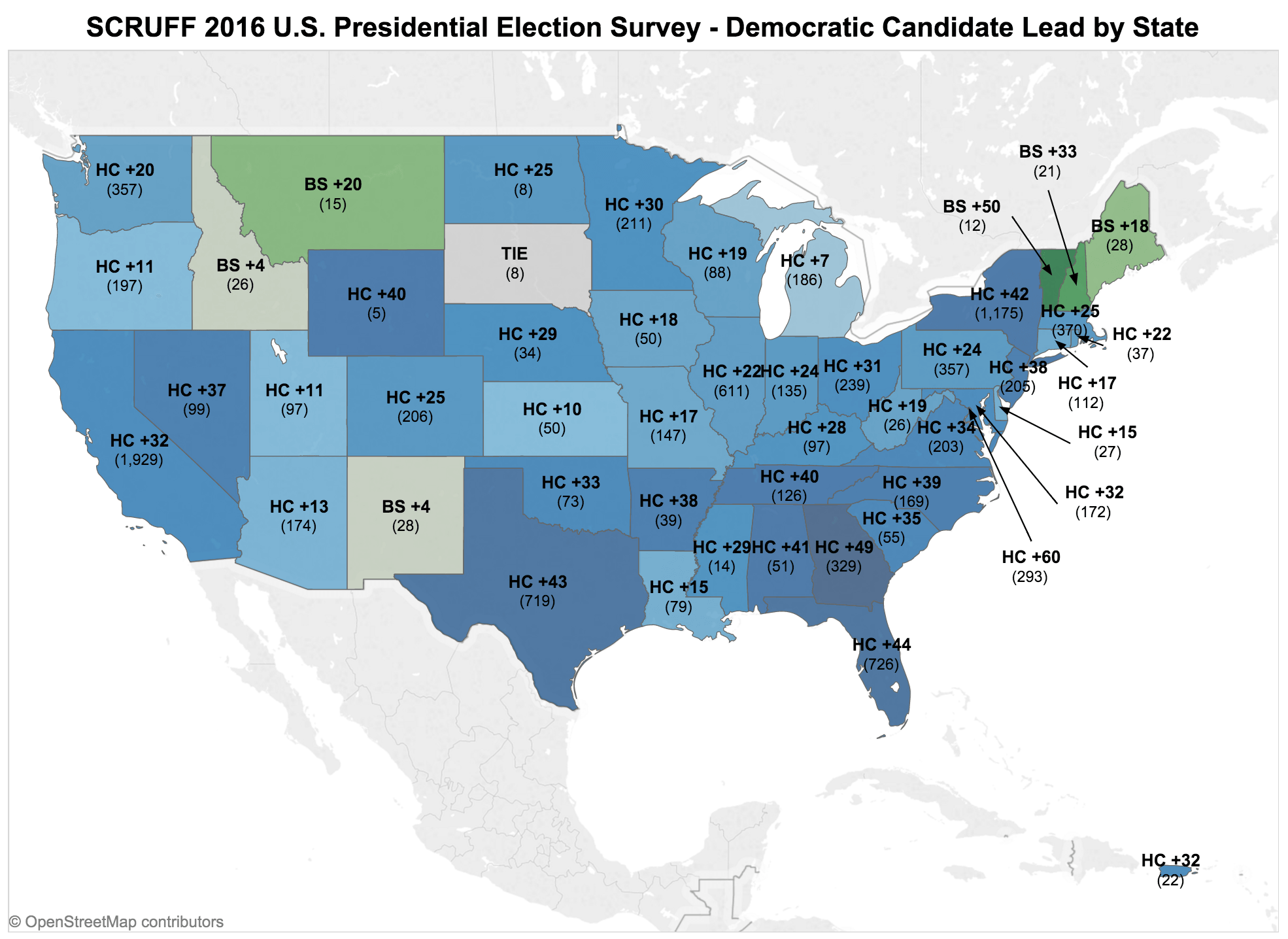 Scruff 2016 U S Presidential Election Survey Democratic Candidate Lead By State